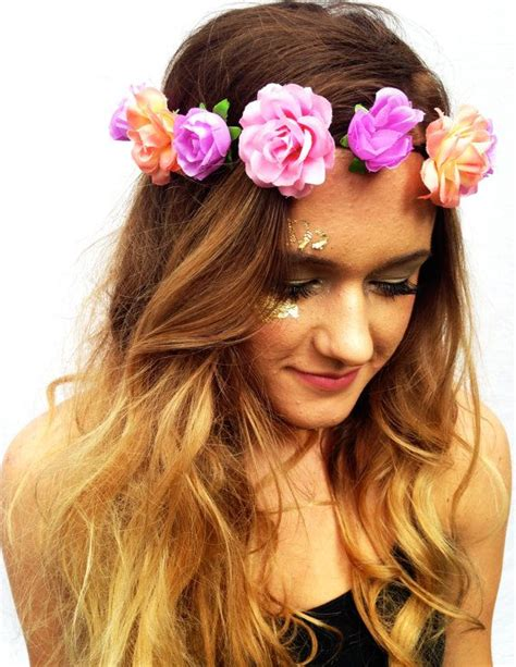flower headband hairstyles tumblr pastel flower crown mermaid floral headpiece boho flower