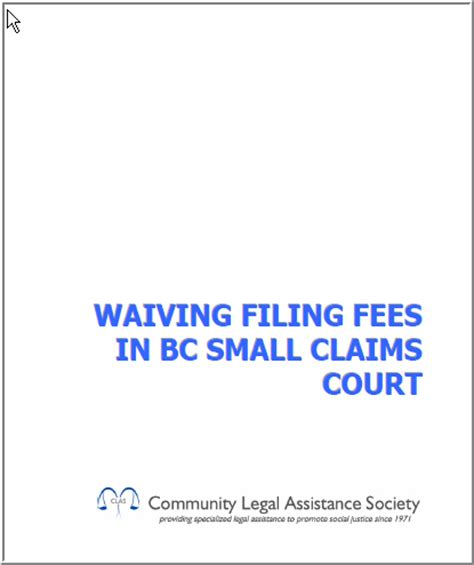 Small Claims Search Waiving Filing Fees In Small Claims Court Clicklaw