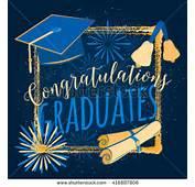 Graduation Card With Sunburst Diplomas Hat Bells Stock Vector