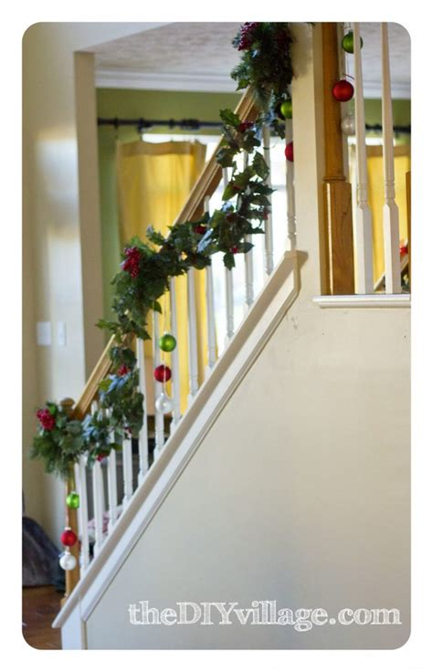 best banister garlands for christmas banister garland the diy