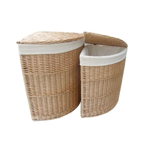 bathroom storage wicker baskets corner unit laundry basket set of 2 wicker willow storage bathroom linen lining ebay