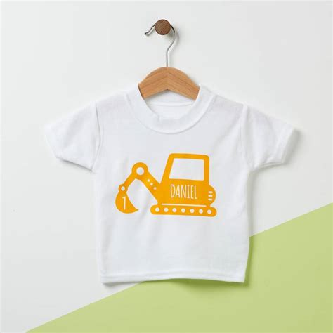 digger personalised baby t shirt by owl otter
