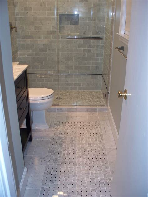 Bathroom Remodel Tile Shower Swank White Swing Door Bathroom With Wooden Vanity In Black Also White Pebble Shower Floor As