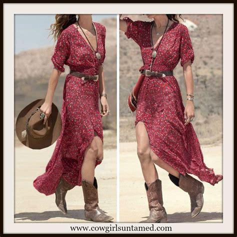short white dresses on pinterest cowboy boot outfits western cowgirl dress red floral button front maxi dress