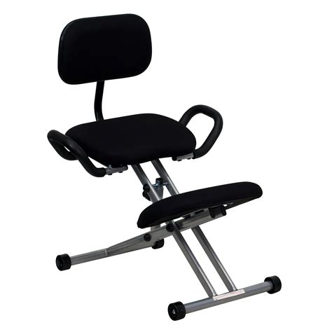 Ergonomic Kneeling Chair by Flash Ergonomic Kneeling Chair In Black Fabric With Back