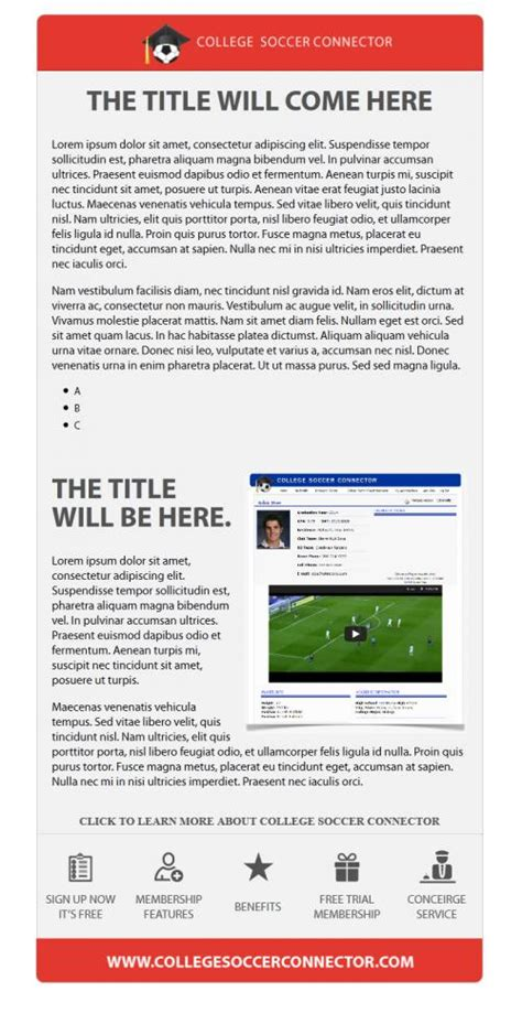 College Soccer Connector Microsites Email Templates Jbrownwebsites Com Psd To Html Email Template