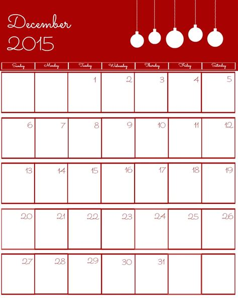 printable free december 2015 calendar free 2015 printable calendar the bearfoot baker