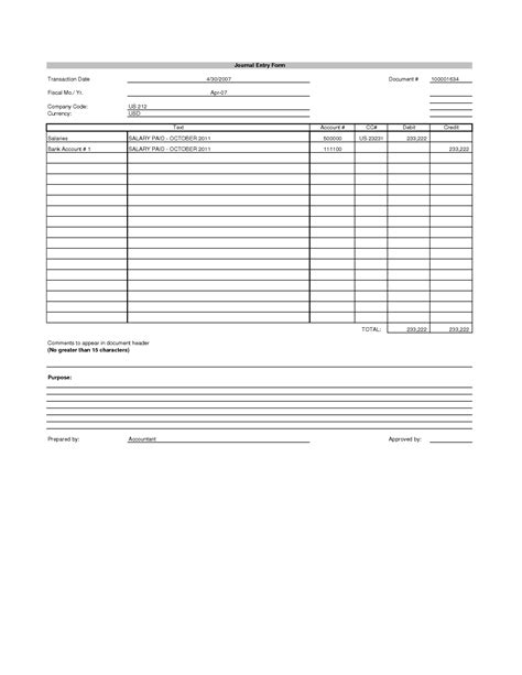 journal entry form template pin best payment voucher on