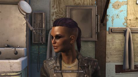 fallout 4 hair color dyed hair purple with dark eyebrows at fallout 4 nexus