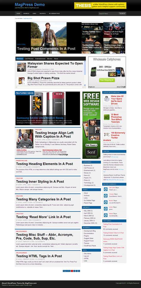 homepage themes html mocell wordpress theme magpress com