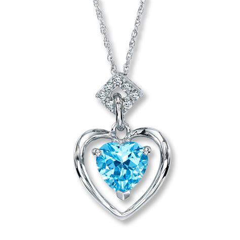 Blue Neckles jared blue topaz necklace 1 15 ct tw diamonds 10k