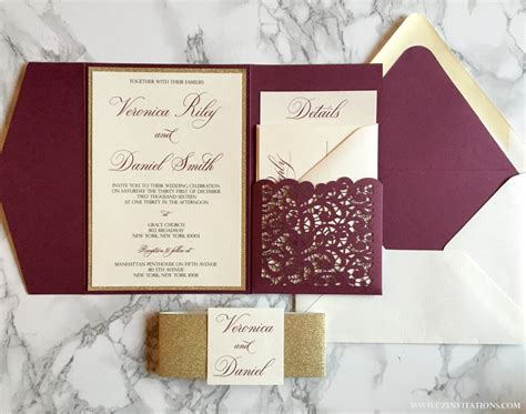 Wedding Invitations Burgundy laser cut pocket wedding invitation burgundy and gold glitter