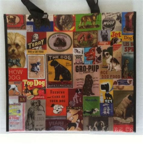 pattern games dvd leslie mcdevitt large reusable tote bag dog theme marshalls nwt
