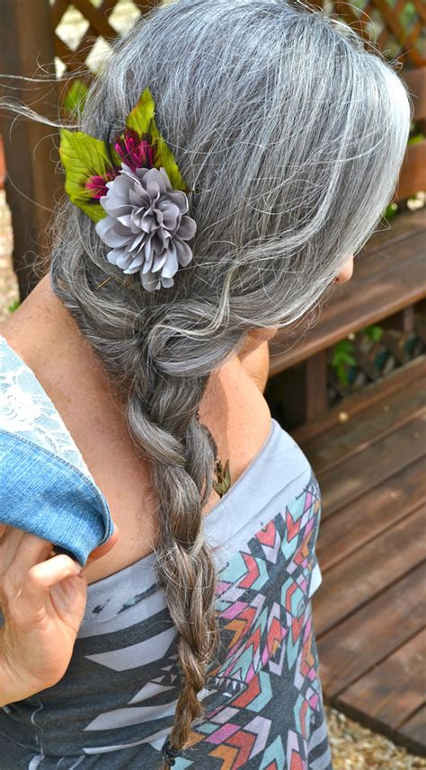 i need a forty year old braided hair style even more women sporting fabulous long silver hair