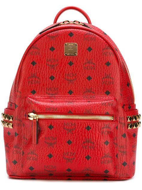 lyst mcm logo print backpack  red