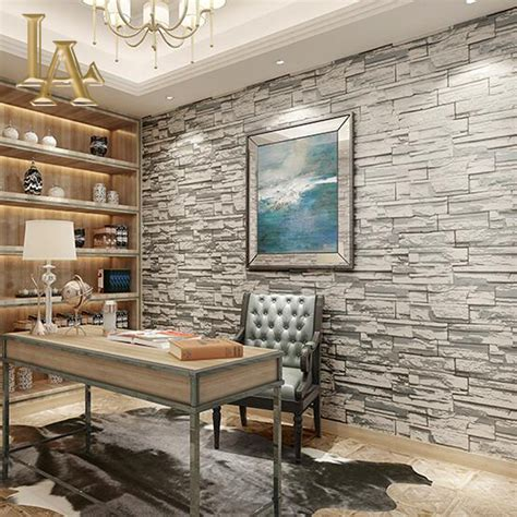 brick wallpaper grey living room yellow wallpaper home decor wallpaper home