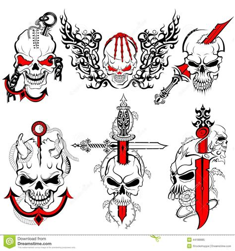 tattoo design collection skull design stock vector image 44188885