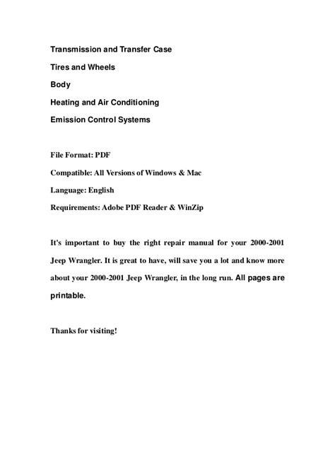 2000 2001 jeep wrangler service repair manual download
