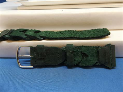 Expedition E6674 Black Leather Green timex band braided green 20mm expedition indiglo leather mens ebay