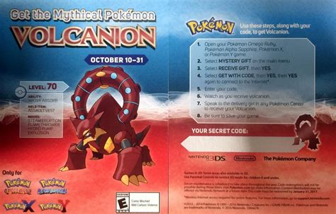 Card Monsters Gift Code - pok 233 mon volcanion and the mechanical marvel gamestop volcanion event pokemon