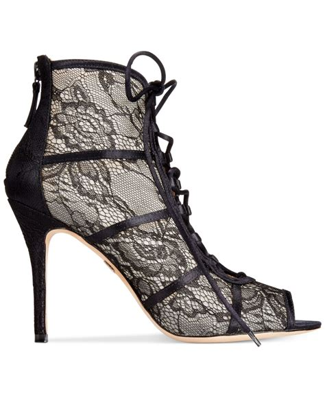 Get Mandy Moores Look With River Islands Lace Mini by Lyst Badgley Mischka Sherry Lace Up Lace Boots In Black