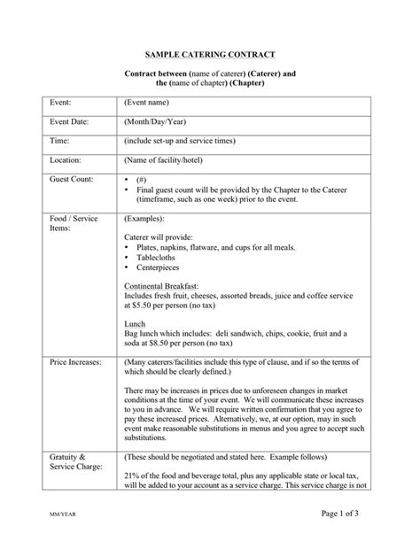 catering contracts sample hunecompany com