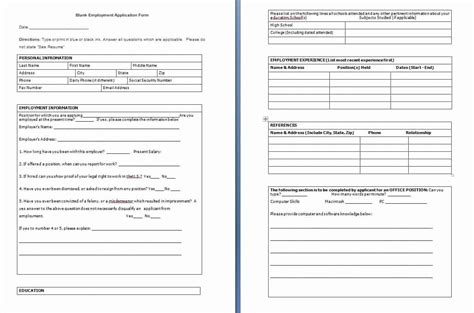 employee application form template  lovely sample