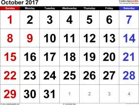 A Calendar For The Month Of October 2017 October 2017 Calendars For Word Excel Pdf