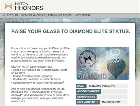 hilton honors diamond status hilton diamond status match one mile at a time