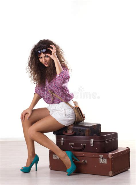 beautiful suitcases woman and suitcases stock photo image 45910031