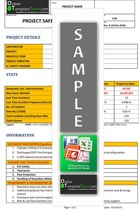 hse report template health safety forms construction templates