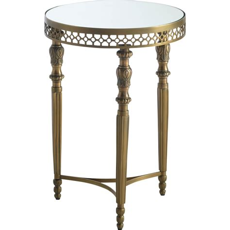 antique side tables for living room powell monacco antique brass round side table living