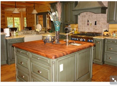 kitchen island butcher block tops sage green island with butcher block countertop kitchen