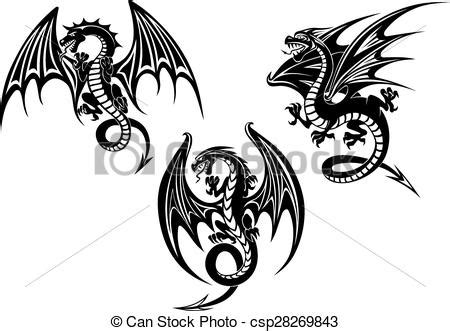 eps vector of dragons with outstretched wings tattoo