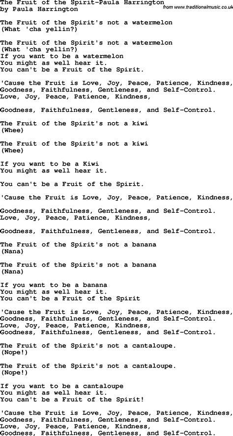 fruit of the spirit song christian childrens song the fruit of the spirit paula