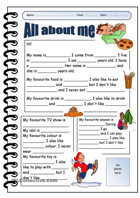 themes for teaching english to adults all about me printable worksheets google search