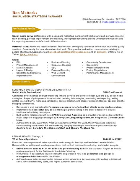 Resume For Media social media marketing resume