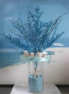 Bubble Vase Centerpiece Blue Coral Seashell Sand Wedding Centerpiece By