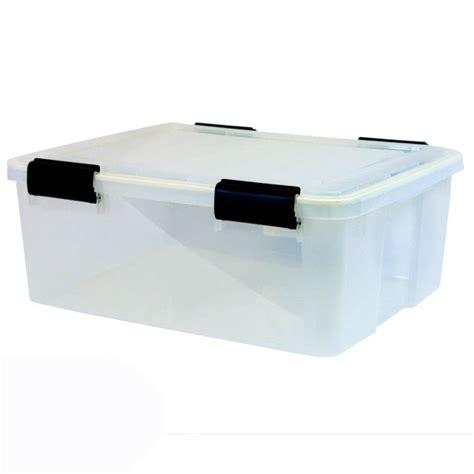 plastic storage container iris airtight plastic container 30 6 qt water resistant