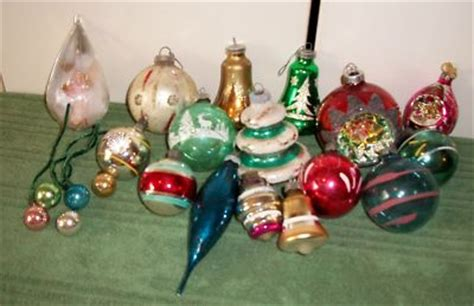group of antique mercury glass christmas ornaments