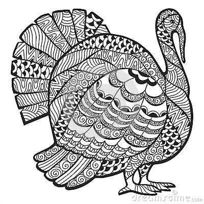 thanksgiving abstract coloring pages turkey zentangle stock vector image 60522620