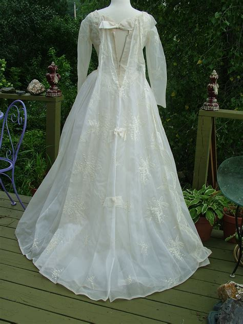 Vintage 1950s embroidered organdy wedding dress Bridal