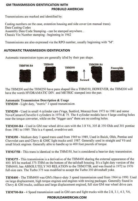 Car Transmission Types by Gm Turbo Hydramatic Gm 4 Speed Saginaw And Muncie