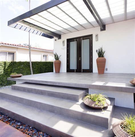 Outdoor Stone Fireplaces - alvarez residence staircase modern porch miami by top ciment usa