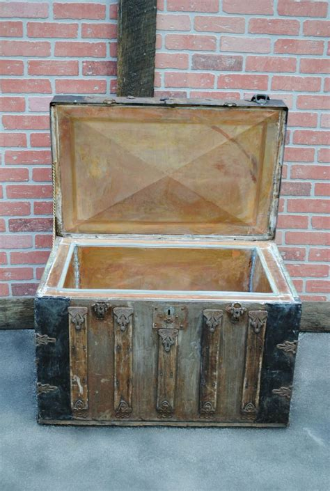 cooler steamer trunk vintage ice chest copper lined etsy