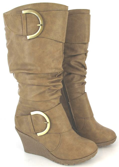 new womens fashion bukkle wedge heel trendy boots