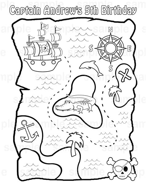 printable maps to color printable pirate treasure map for kids adult coloring