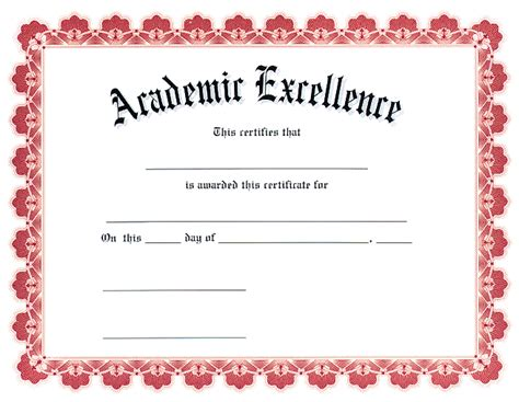 academic award certificate template award certificates