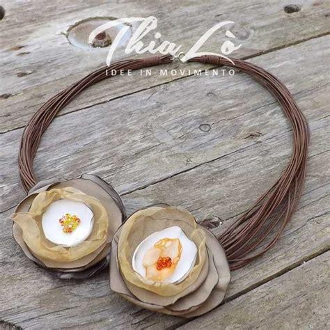 collane con fiori di stoffa collana multifili marrone con fiori di stoffa gioielli