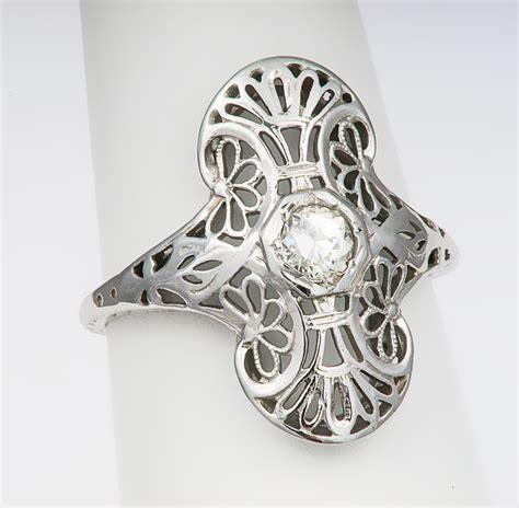 18kt white gold antique filigree ring s